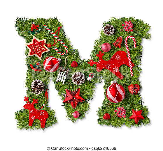 Christmas Letters.Christmas Alphabet Letter M