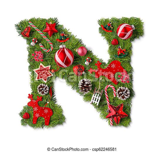 Christmas Alphabet.Christmas Alphabet Letter N