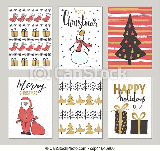 Christmas and happy new year greeting cards with clip art vector christmas and happy new year greeting cards with calligraphy cute hand drawn holiday cards and m4hsunfo