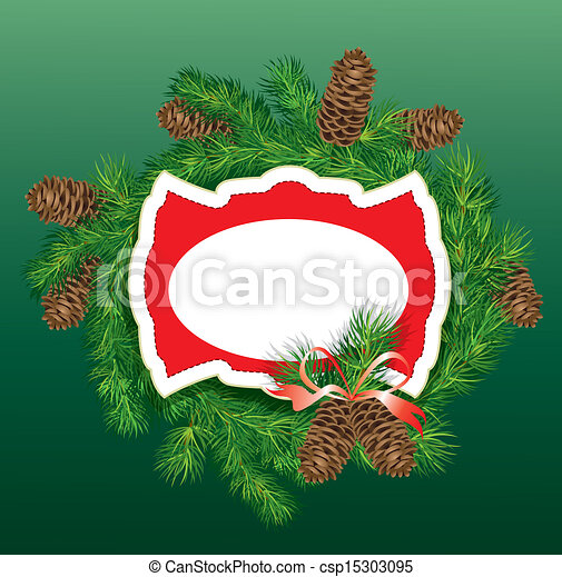 christmas and new year background fir tree branches and pine cones frame csp15303095