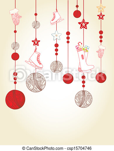 Christmas and new year card design with hanging baubles and ...