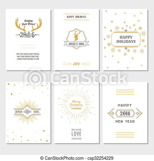 christmas and new year cards art deco style in vector