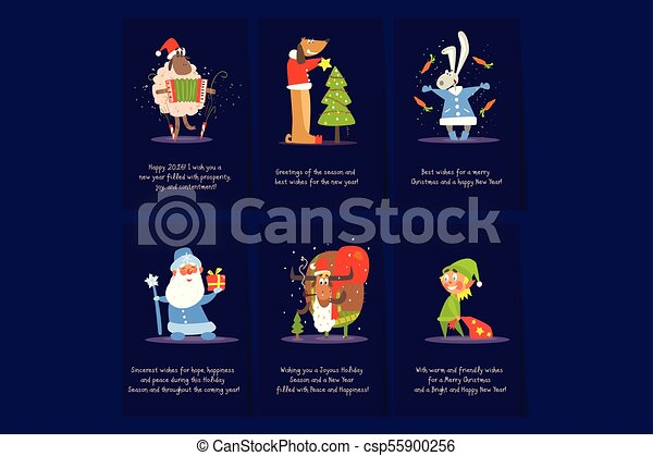 Christmas and new year cards templates sheep with accordion dog colorful christmas and new year greeting cards templates sheep with accordion dog near holiday tree bunny with carrot santa deer and elf with gifts m4hsunfo