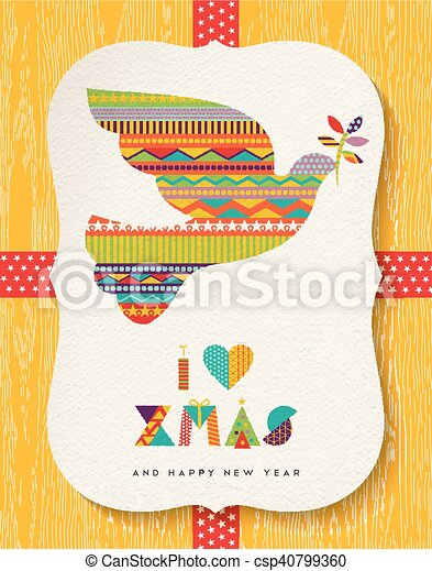Christmas and new year colorful dove card design - csp40799360