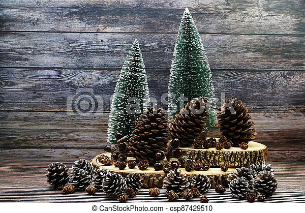 Christmas and New year decoration on wooden background - csp87429510