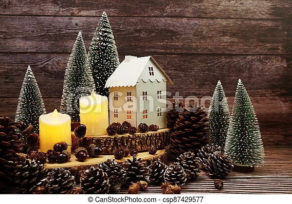 Christmas and New year decoration on wooden background - csp87429577