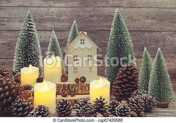 Christmas and New year decoration on wooden background - csp87429588