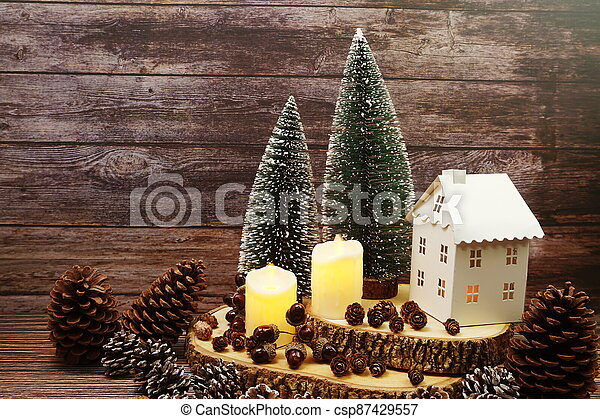 Christmas and New year decoration on wooden background - csp87429557