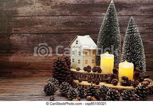 Christmas and New year decoration on wooden background - csp85100321