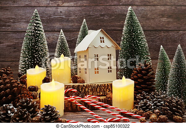 Christmas and New year decoration on wooden background - csp85100322