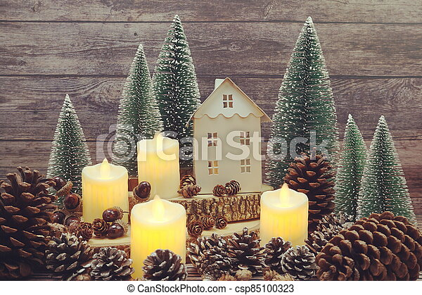 Christmas and New year decoration on wooden background - csp85100323