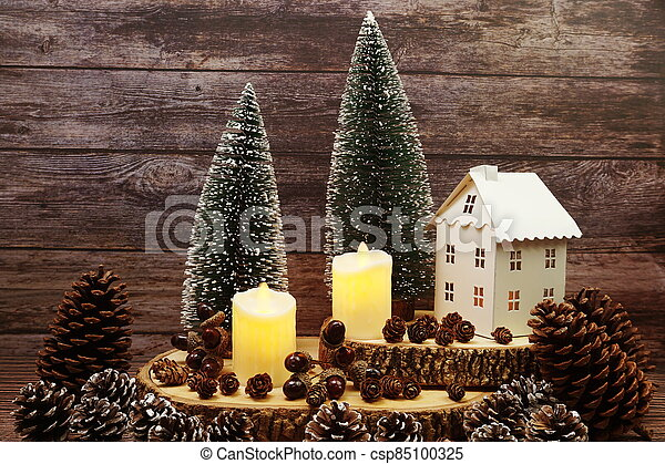Christmas and New year decoration on wooden background - csp85100325