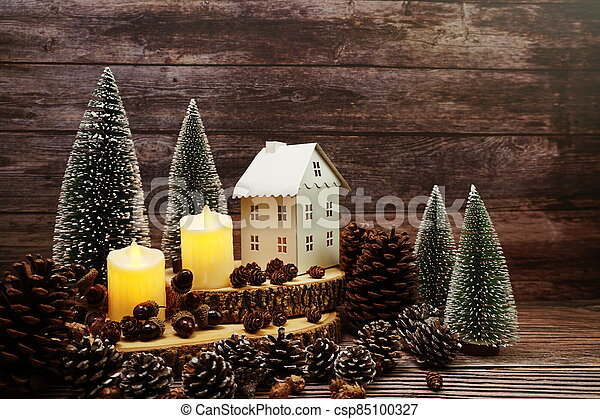 Christmas and New year decoration on wooden background - csp85100327