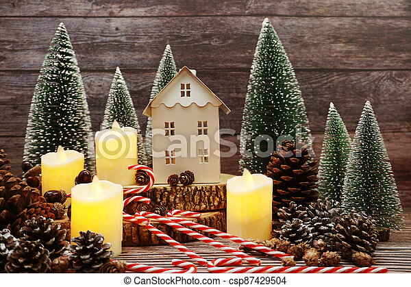 Christmas and New year decoration on wooden background - csp87429504