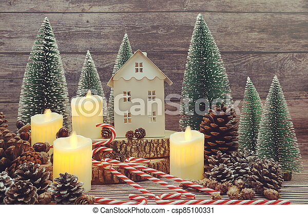 Christmas and New year decoration on wooden background - csp85100331