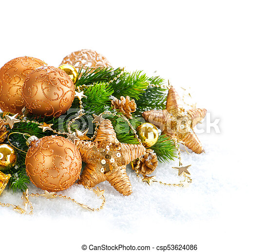 Christmas and New Year Decoration over white snow background - csp53624086