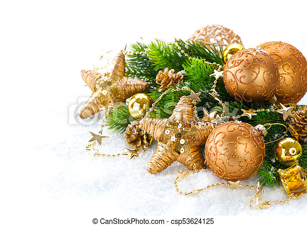 Christmas and New Year Decoration over white snow background - csp53624125