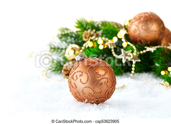 Christmas and New Year Decoration over white snow background - csp53623905