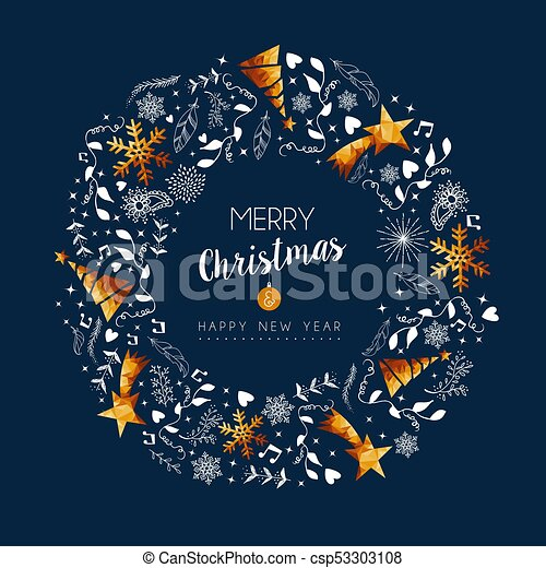 Christmas And New Year Gold Low Poly Wreath Card Merry Christmas