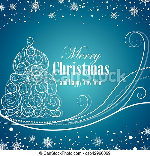 Christmas and New Year greeting card - csp42960069
