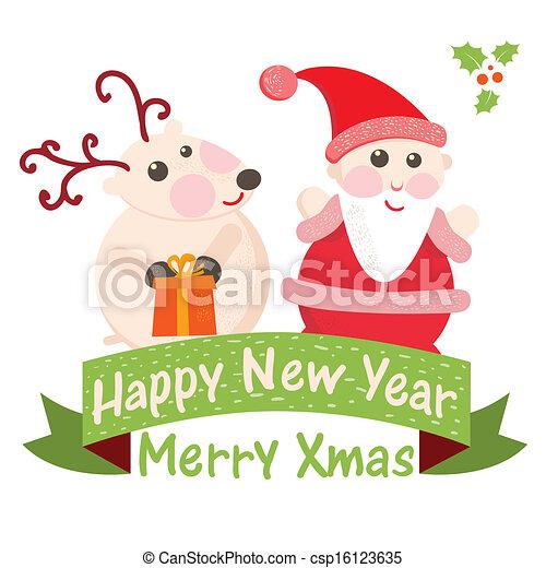 Christmas and new year greeting card santa claus with deer 2 christmas and new year greeting card santa claus with deer 2 csp16123635 m4hsunfo