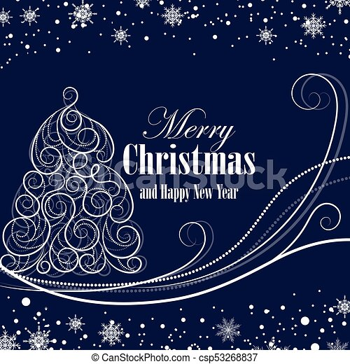 Christmas and New Year greeting card - csp53268837
