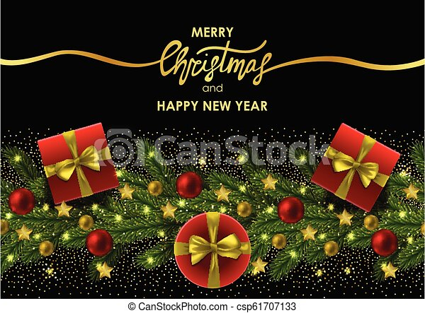 Christmas And New Year Invitation Card With Gold Lettering
