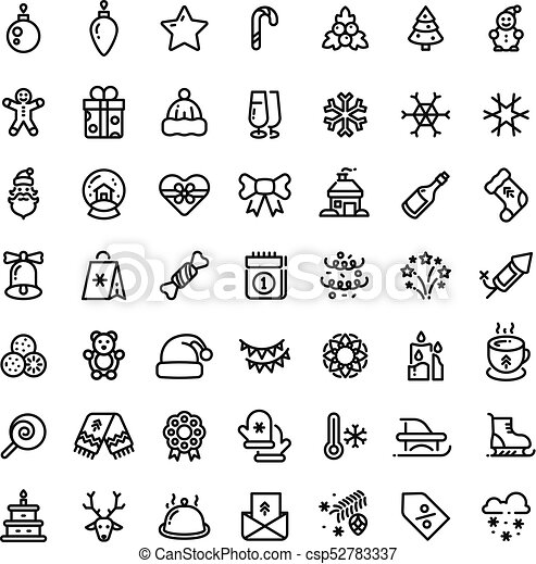 christmas and new year line vector icons xmas winter outline symbols set