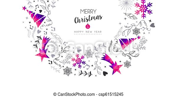 Christmas and New Year pink ornament card - csp61515245