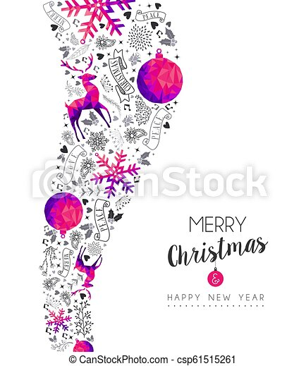 Christmas and New Year vintage pink ornament card - csp61515261