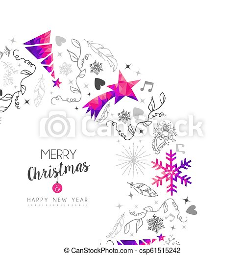 Christmas and New Year vintage pink ornament card - csp61515242