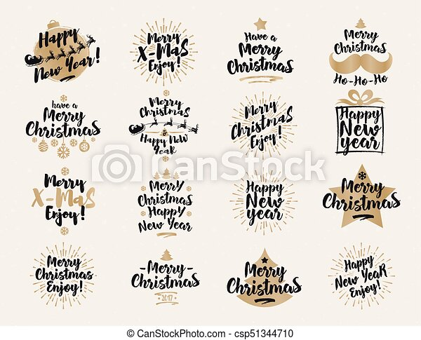 Christmas and new year\'s signs set black gold color on white ...