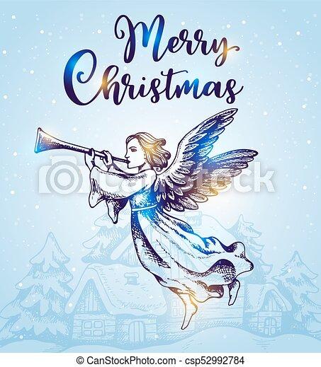 Christmas angel flies over houses - csp52992784