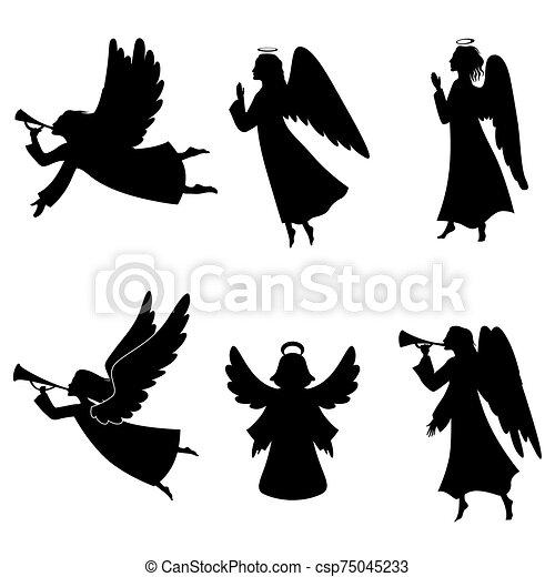 Christmas angel silhouette set - csp75045233