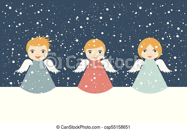 Christmas Angels.Christmas Angels Cartoon Illustration In Flat Style Snowing Vector