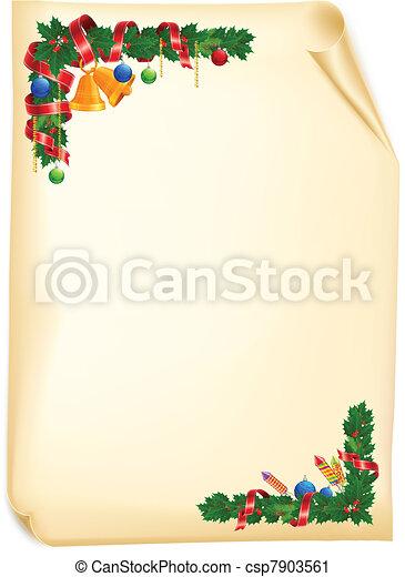 Christmas angle garland card - csp7903561
