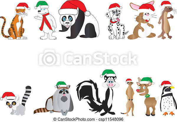 Christmas animals collection. A collection of cute cartoon animals ...