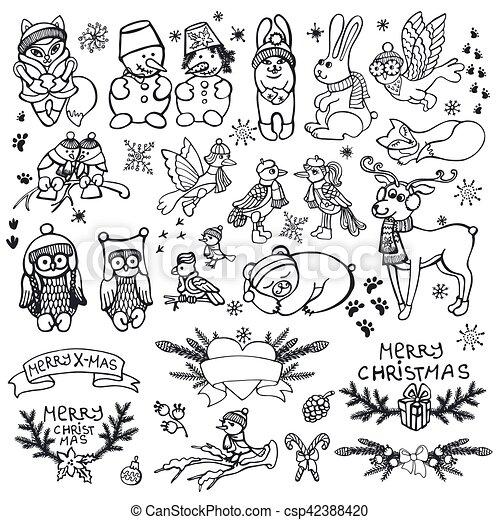 christmas animals set funny winter woodland outline black christmas