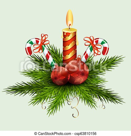 Christmas arrangement of fir green branches, balls, a burning candle and two staffs with red ribbons. - csp63810156