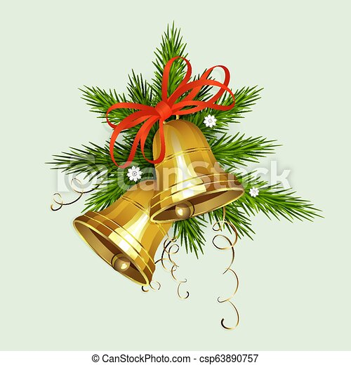 Christmas arrangement of spruce green branches, two bells of golden hue with a red bow. - csp63890757