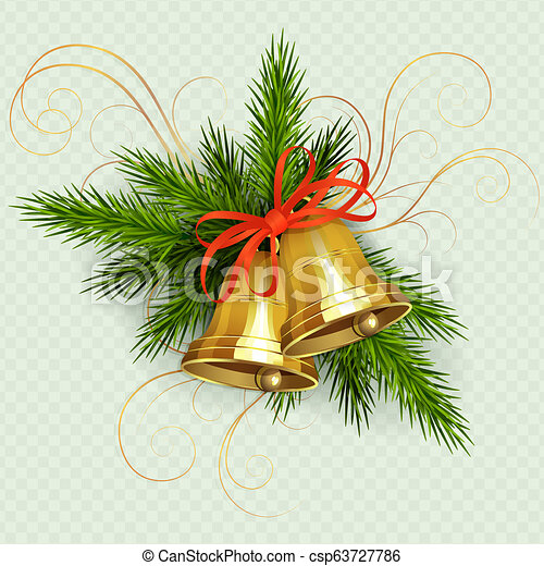 Christmas arrangement of spruce green twigs, golden bells with red ribbon and pattern. - csp63727786
