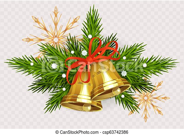 Christmas arrangement of spruce green twigs, golden bells with red ribbon and golden snowflakes - csp63742386