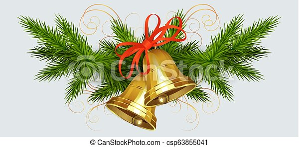 Christmas arrangement of spruce green branches and bells of golden hue with a red bow - csp63855041