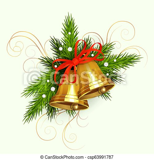 Christmas arrangement of spruce green branches with white snowflakes, two golden bells with a red ribbon - csp63991787