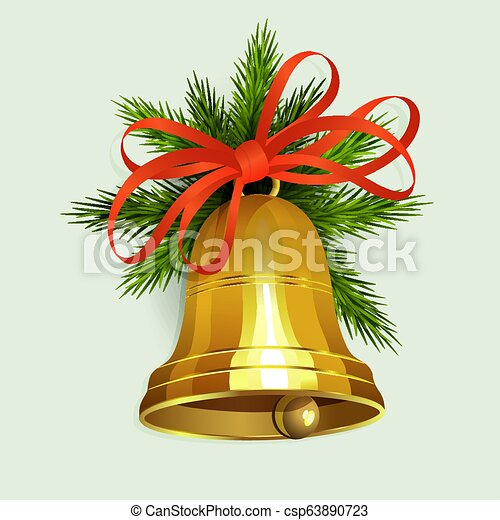 Christmas arrangement of spruce green branches and a golden bell with a red bow - csp63890723
