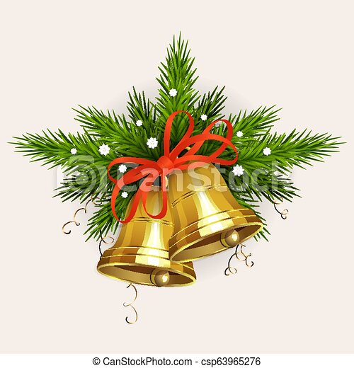 Christmas arrangement of spruce green branches with snowflakes, golden bells with a red ribbon - csp63965276