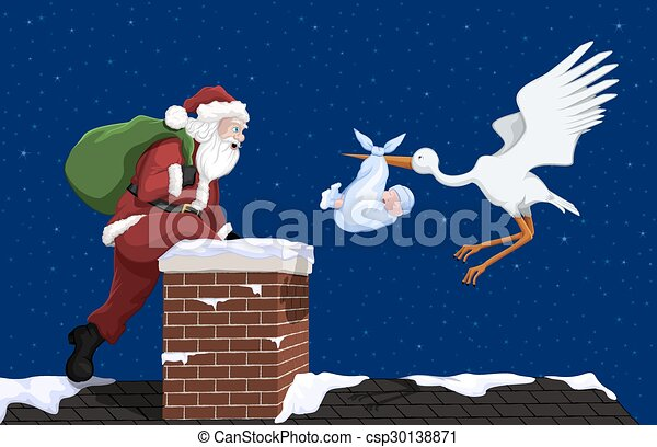 Christmas baby boy delivery. A stork with a baby boy and ...