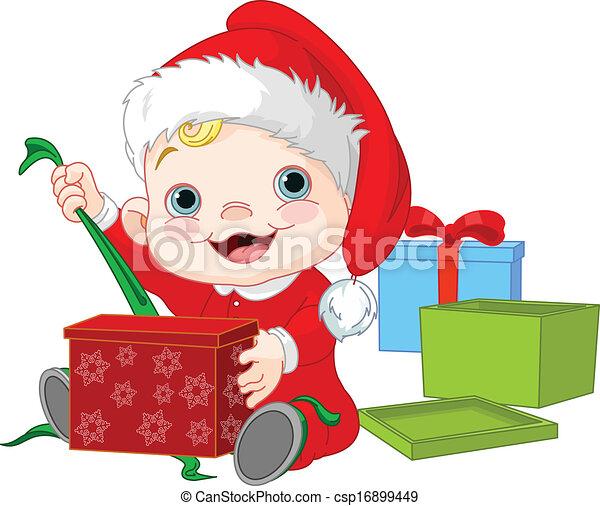 Christmas Baby Open Gift Cute Baby Open Christmas Gift