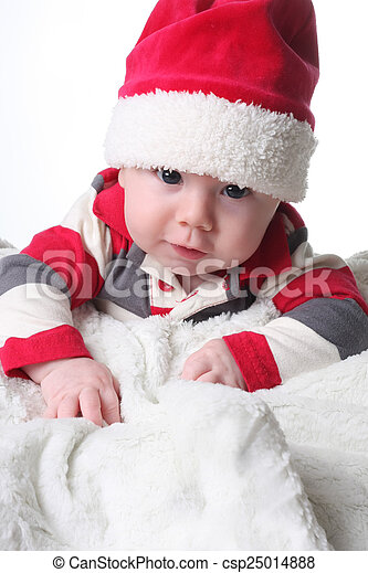 785e66fb8904d Christmas baby. Baby boy in a christmas santa hat.