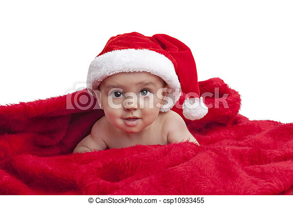 668b02be957 Christmas baby. Cute baby with christmas hat on red blanket.